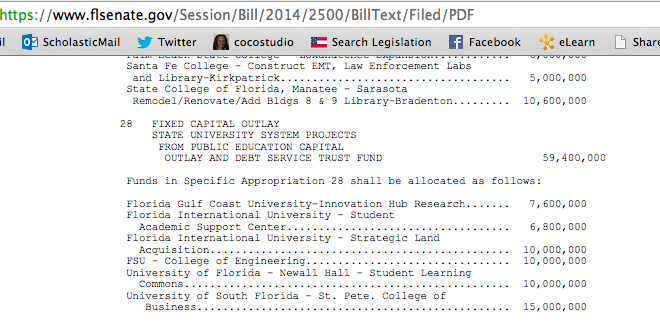 Section of SB 2500 funding the FSU College of Engineering.